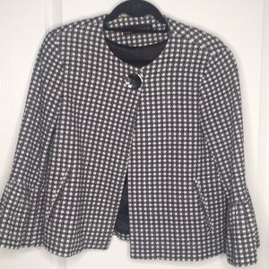 Zara checked blazer with ruffles on sleeves